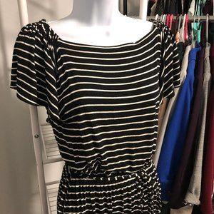 LOFT // Black & White Striped Flutter Sleeve Midi